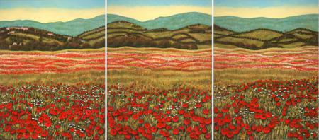 Poppy Fields of Tuscany Triptych